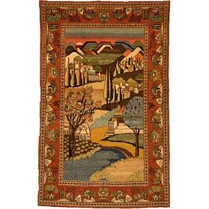 4' 2 x 6' 9 Kashan Persian Rug