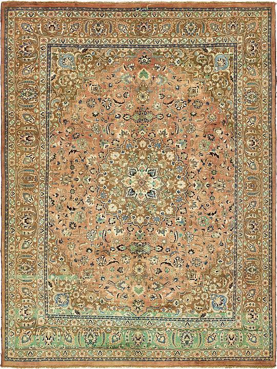 Peach 9 9 X 13 2 Mashad Persian Rug Persian Rugs