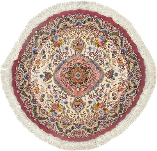 Ivory 105cm X 105cm Tabriz Persian Round Rug