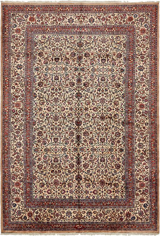 Cream 11 39 9 x 17 39 1 mashad persian rug persian rugs for Cream and red rugs