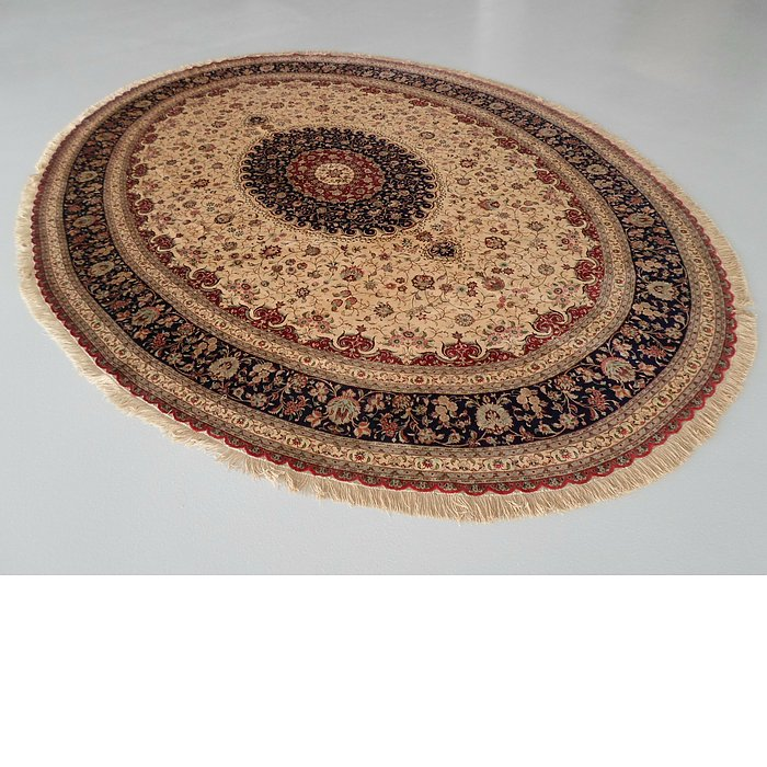 11' 6 x 13' 1 Qom Persian Oval Rug
