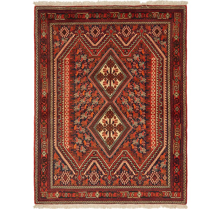 4' 5 x 5' 10 Mazlaghan Persian Rug