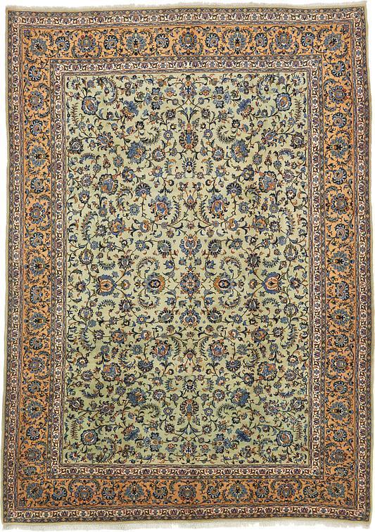 Light Green 9 10 X 13 9 Kashan Persian Rug Persian