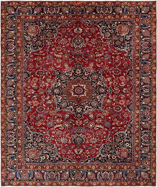 Red 290cm X 343cm Mashad Persian Rug