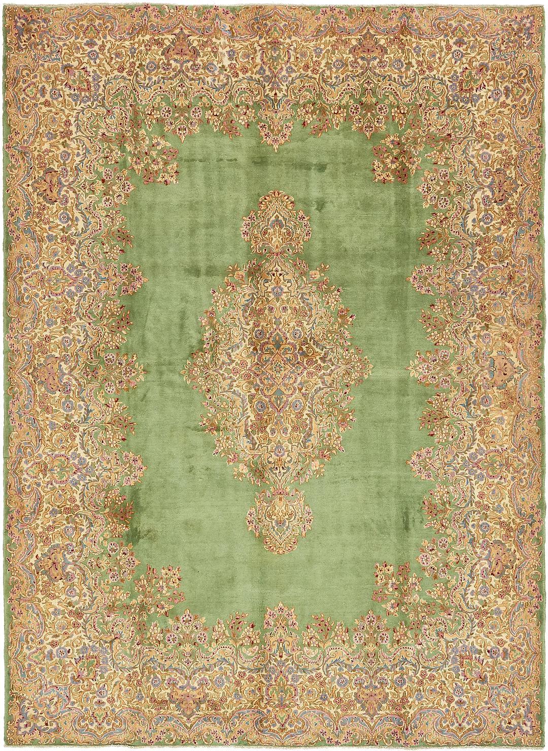 Green 8 10 X 12 Kerman Persian Rug Persian Rugs
