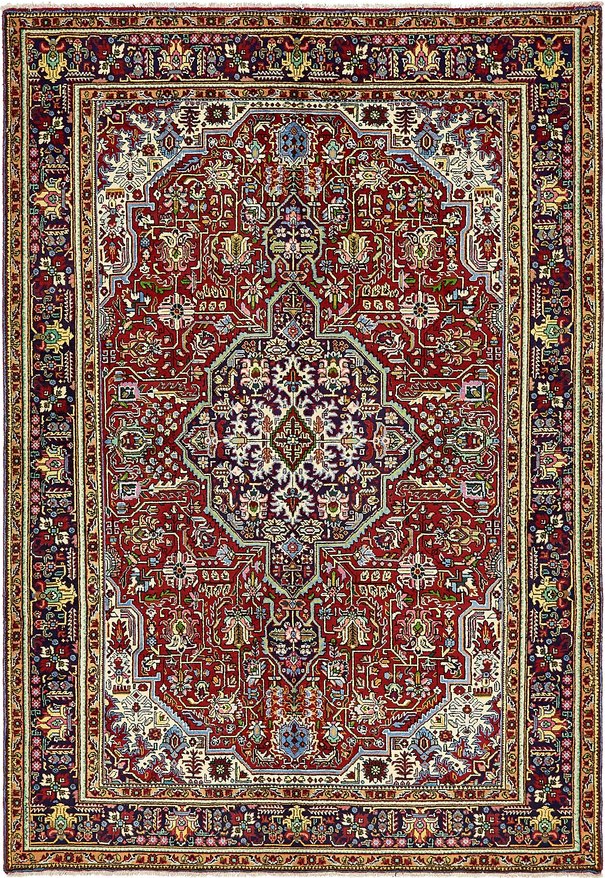 Red 6 7 X 9 6 Tabriz Persian Rug Handknotted Com