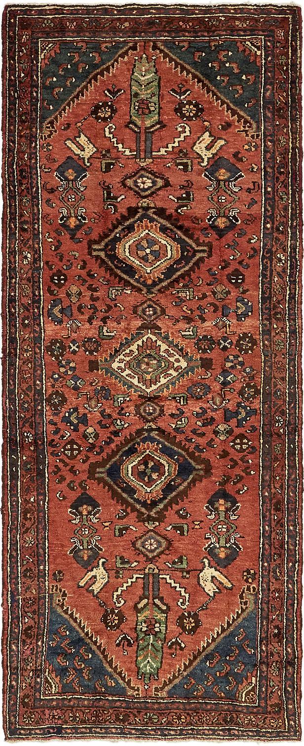 Red 3 5 X 9 2 Khamseh Persian Runner Rug Persian Rugs