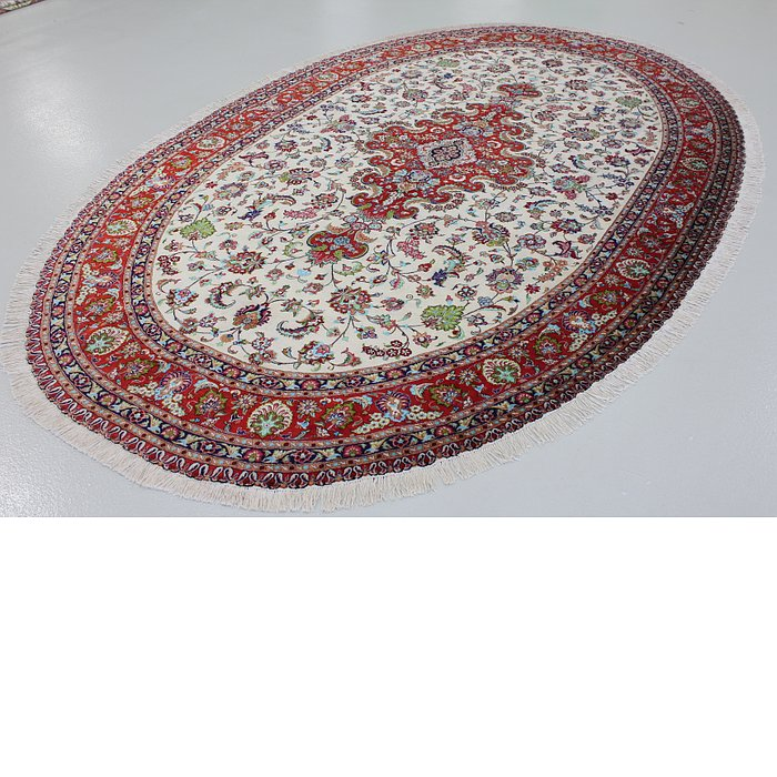 6' 7 x 11' 2 Qom Persian Oval Rug