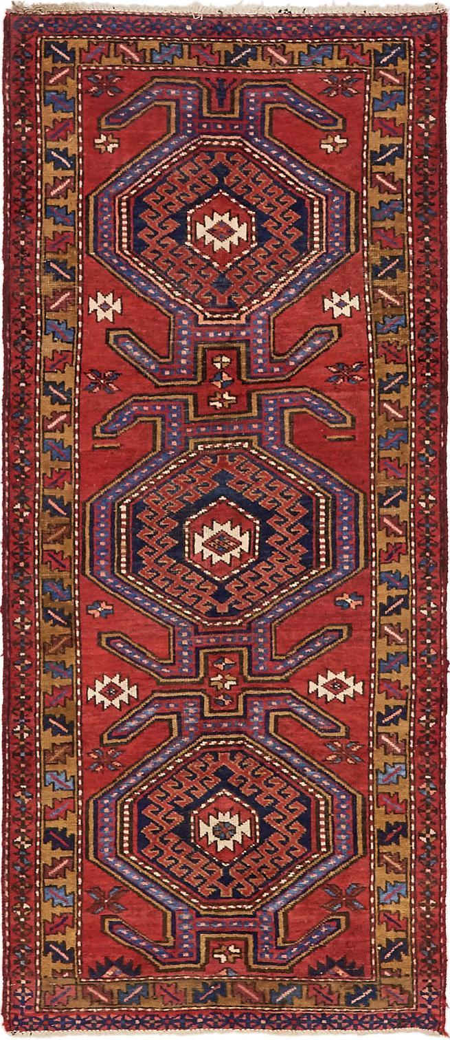 Red Handknotted 3 3 X 7 8 Meshkin Persian Runner Rug Persian