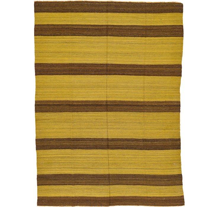 6' 1 x 8' 5 Striped Modern Kilim Rug