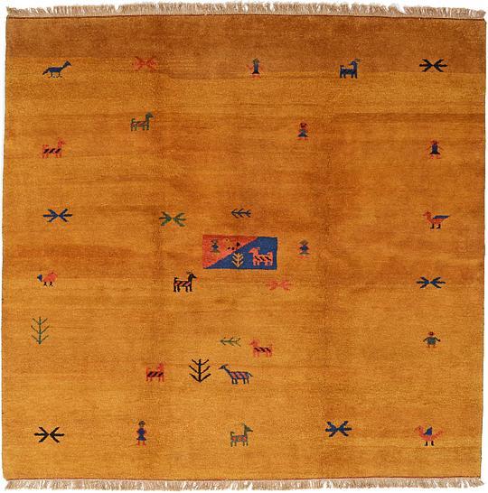 Shop Oriental Persian Gabbeh Shades Of Orange Hand Knotted: Gold 8' 2 X 8' 5 Shiraz-Gabbeh Persian Square Rug