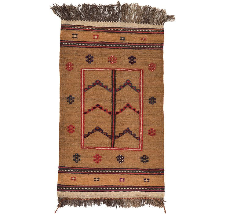 2' 4 x 4' Kilim Afghan Rug