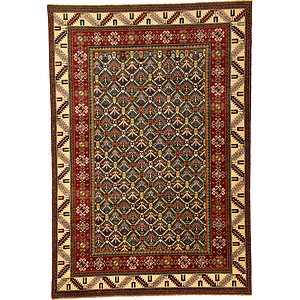 8×11 Green Kazak  Rugs