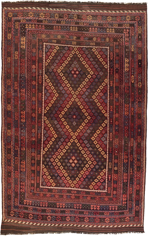 burgundy 9 39 10 x 15 39 6 kilim maymana rug area rugs esalerugs. Black Bedroom Furniture Sets. Home Design Ideas