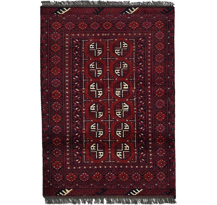 3' 4 x 4' 9 Afghan Akhche Rug