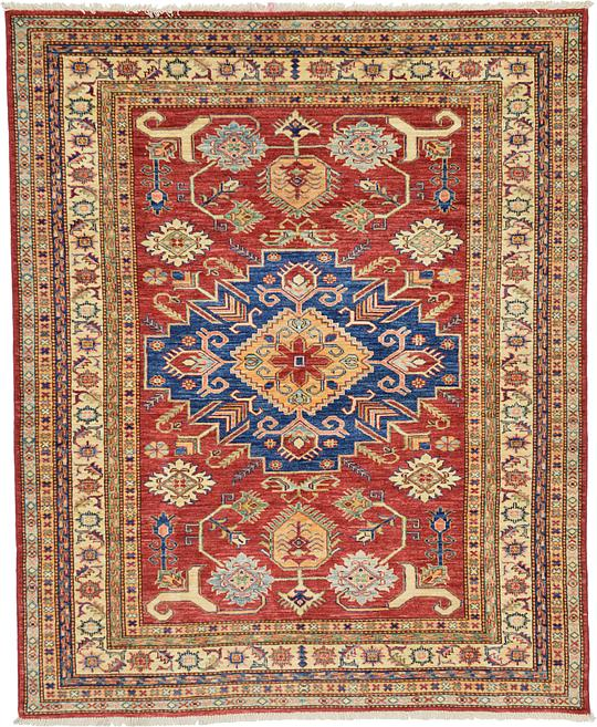 5 X 6 Vintage Kazak Persian Oriental Wool Hand Knotted: Red 5' 5 X 6' 7 Kazak Oriental Rug