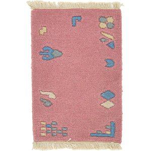 HandKnotted 1' 4 x 1' 11 Indo Tibet Rug