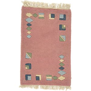 HandKnotted 1' 3 x 1' 11 Indo Tibet Rug