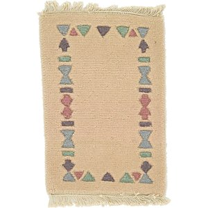 HandKnotted 1' 4 x 2' Indo Tibet Rug