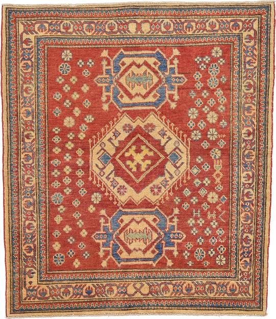 Oriental Rugs Uk: Red 3' 9 X 4' 4 Kazak Oriental Square Rug