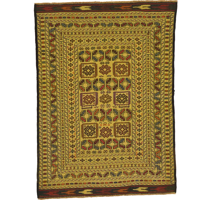 4' x 5' 7 Kilim Afghan Rug