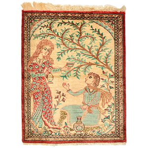 1' 6 x 1' 11 Qom Persian Rug