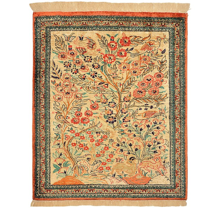 2' x 2' 4 Qom Persian Square Rug