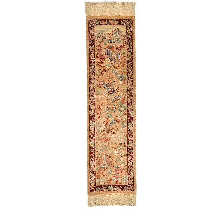 0' 9 x 2' 10 Qom Persian Runner Rug