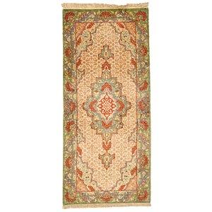 HandKnotted 1' 5 x 3' 2 Qom Persian Runner Rug