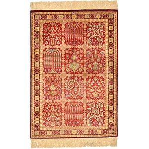 1' 11 x 2' 9 Qom Persian Rug