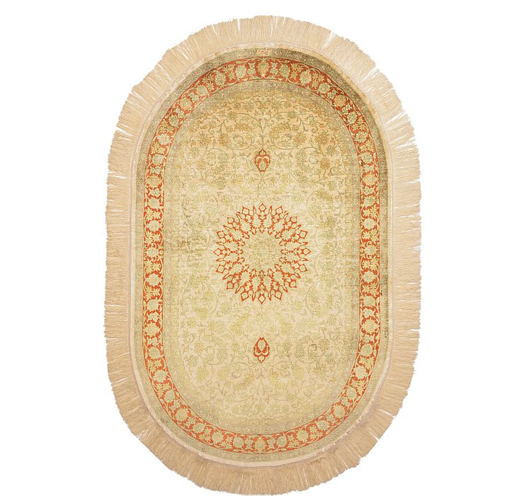 3' 1 x 5' Qom Persian Oval Rug