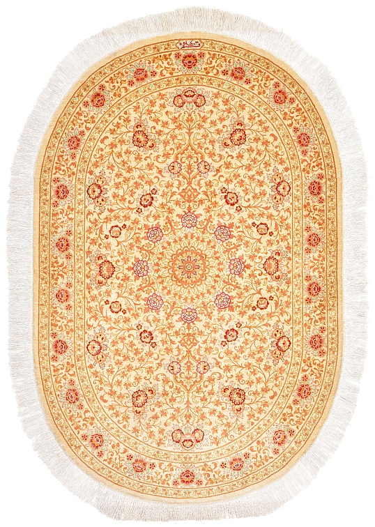Cream  3' 3 x 4' 9 Qom Persian Oval