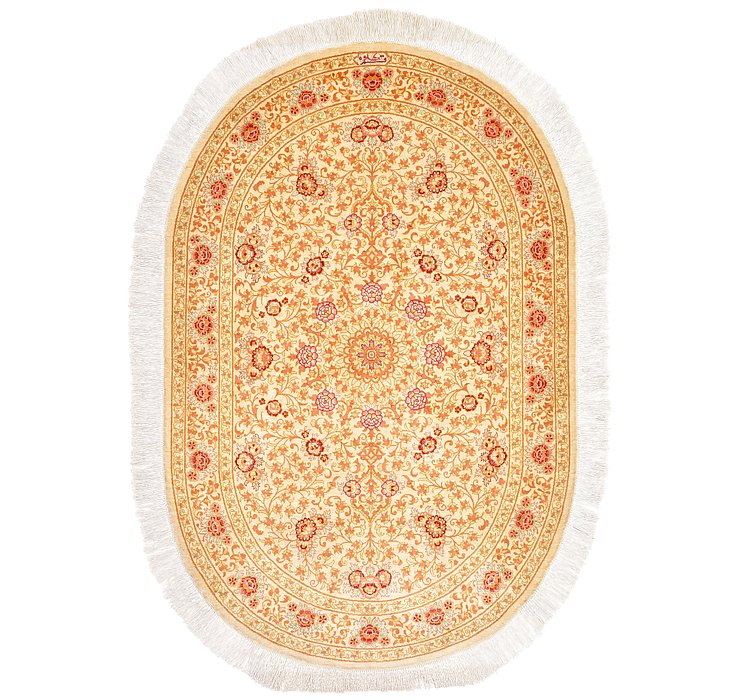3' 3 x 4' 9 Qom Persian Oval Rug