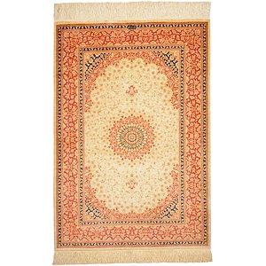 HandKnotted 3' 3 x 4' 9 Qom Persian Rug