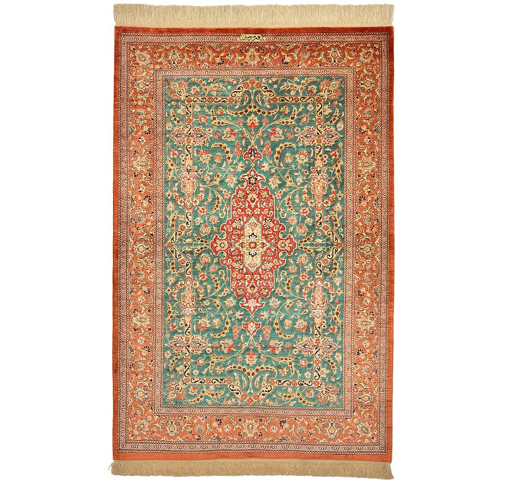 3' 4 x 5' 2 Qom Persian Rug