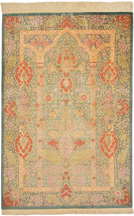 Hunter Green 3 3 X 4 10 Qom Persian Rug Persian Rugs