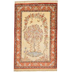 Unique Loom 3' 4 x 5' Qom Persian Rug