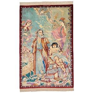 3' 2 x 4' 10 Qom Persian Rug
