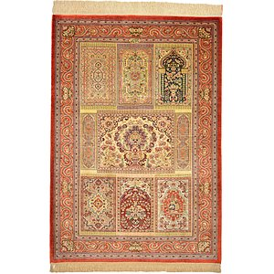 3' 5 x 4' 10 Qom Persian Rug