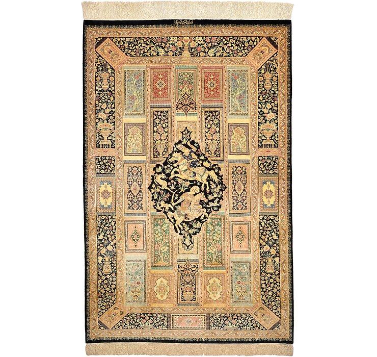 3' 6 x 5' 3 Qom Persian Rug