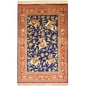 4' 2 x 6' 6 Qom Persian Rug
