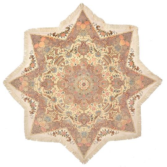 Cream  6' 7 x 6' 7 Tabriz Persian Octagon