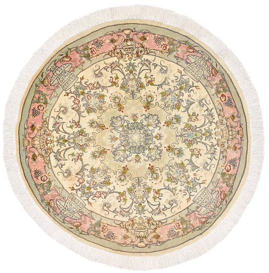 Cream 3 3 X 3 3 Tabriz Persian Round Rug Persian Rugs