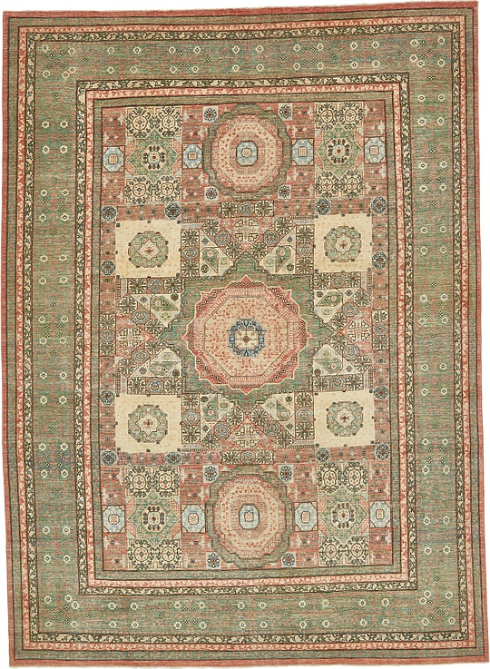 Sage Green 8 9 X 12 Mamluk Ziegler Oriental Rug