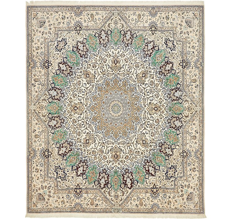 6' 6 x 7' 8 Nain Persian Square Rug