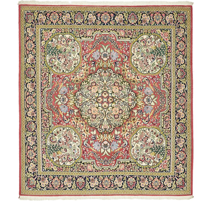 6' 5 x 7' Qom Persian Square Rug