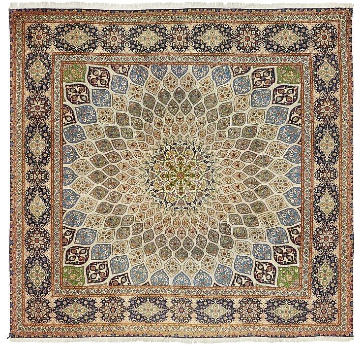 9' 6 x 9' 6 Tabriz Persian Square Rug