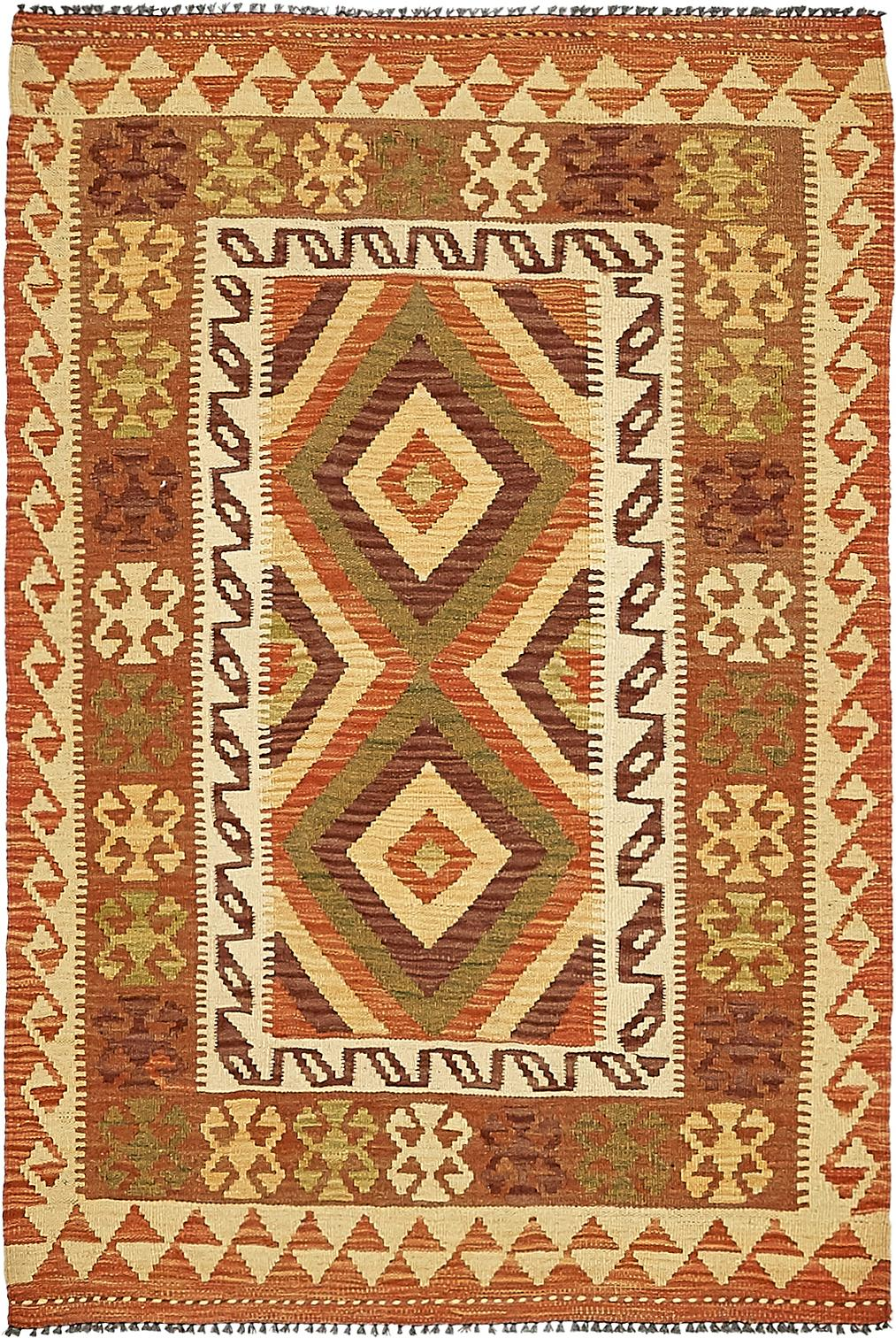 Orange 3 3 X 4 9 Kilim Maymana Rug Area Rugs Handknotted Com