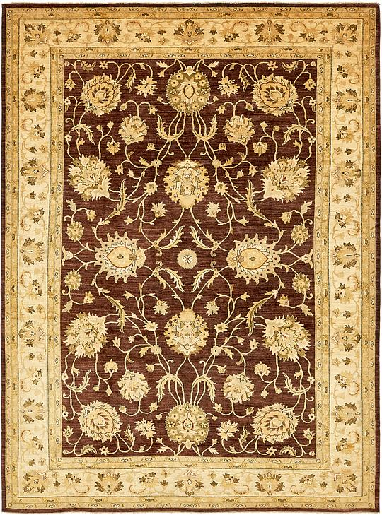 Plum red 9 39 9 x 14 39 peshawar ziegler rug oriental rugs for Plum and cream rug