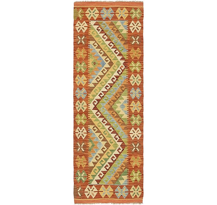 Orange 2 2 X 5 Kilim Maymana Runner Rug Area Rugs Handknottedcom